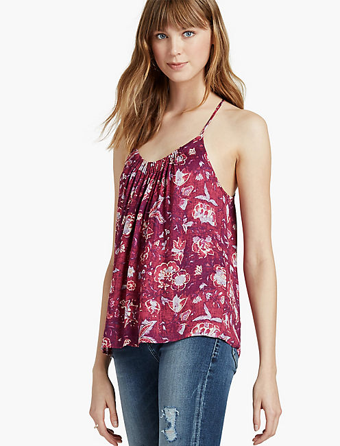 STRAPPY FLORAL TANK, PINK MULTI