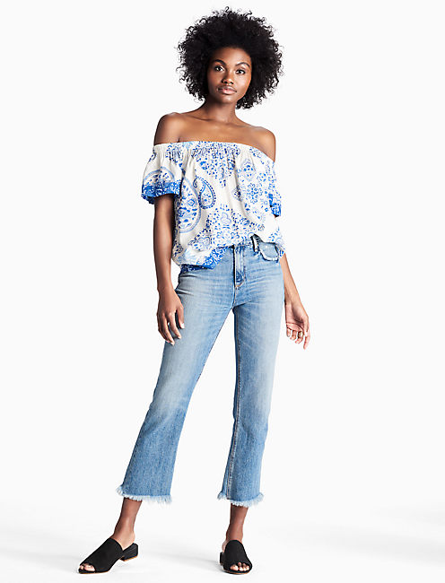 MIX PRINT OFF THE SHOULDER TOP,