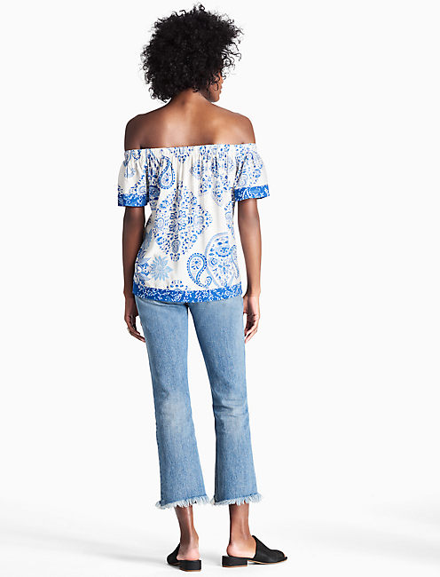 MIX PRINT OFF THE SHOULDER TOP, BLUE MULTI
