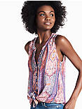 MOSAIC V BUTTON UP TANK, PINK MULTI