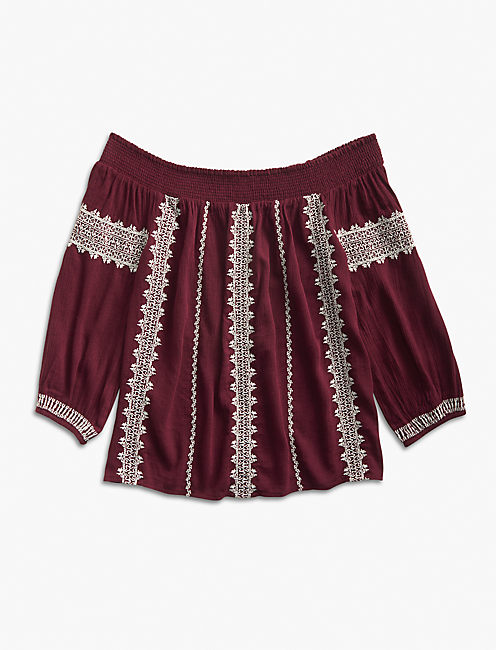 OFF THE SHOULDER EMBROIDERED PEASANT TOP, PORT ROYALE