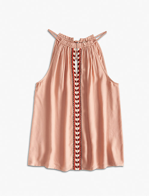 SMOCKED EMBROIDERED HALTER, MISTY ROSE