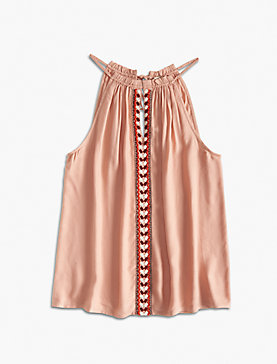 SMOCKED EMBROIDERED HALTER