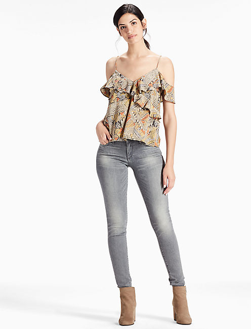 FLUTTER COLD SHOULDER TOP, MULTI