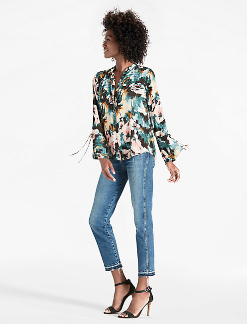 Lucky Printed Tie Sleeve Blouse