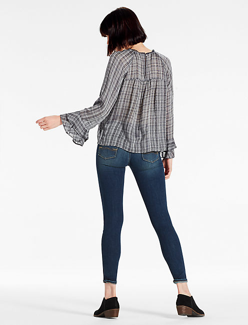 PLAID BELL SLEEVE TOP,