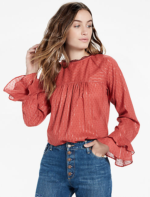 SWISS DOT BELL SLEEVE TOP,