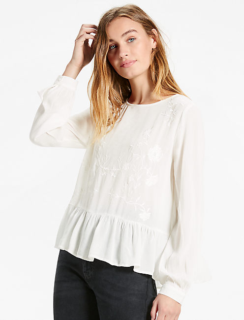 EMBROIDERED PEPLUM, MARSHMALLOW