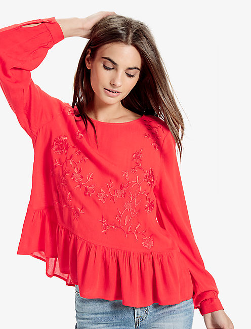 EMBROIDERED PEPLUM, #6680 FIERY RED