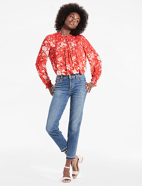 Lucky Rouched High Neck Blouse