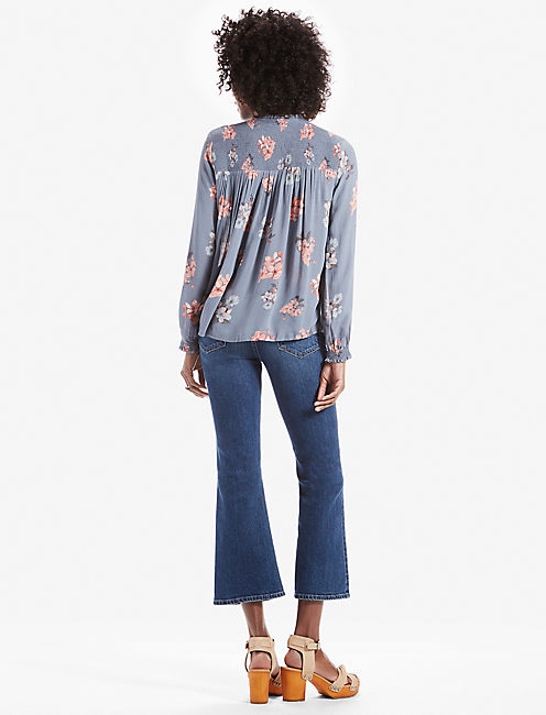 ROUCHED HIGH NECK BLOUSE,