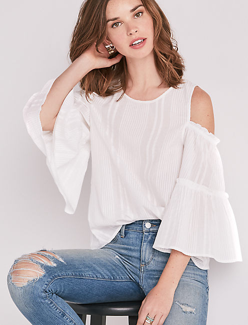 BELL SLEEVE COLD SHOULDER TOP,