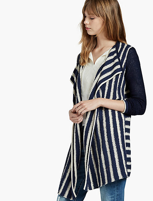 STRIPED WATERFALL CARDIGAN,