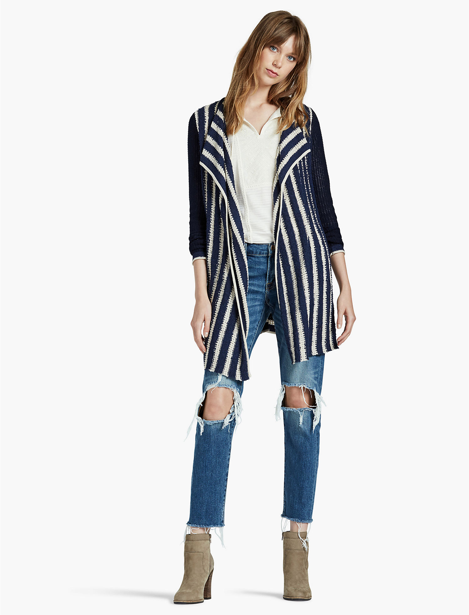 STRIPED WATERFALL CARDIGAN - Lucky Brand 2.0