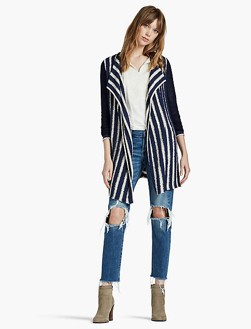 LUCKY STRIPED WATERFALL CARDIGAN