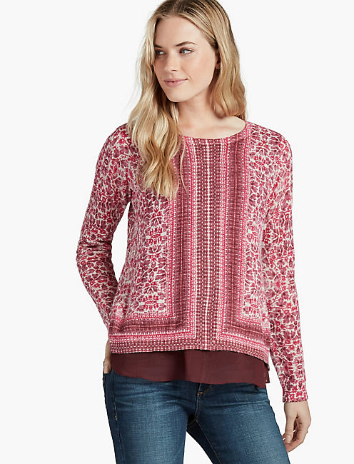 FLORAL PRINTED SWEATER, PINK MULTI