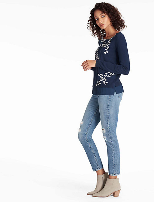 Lucky Leaf Print Pullover