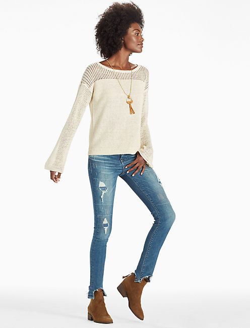 BELL SLEEVE PULLOVER SWEATER, NATURAL