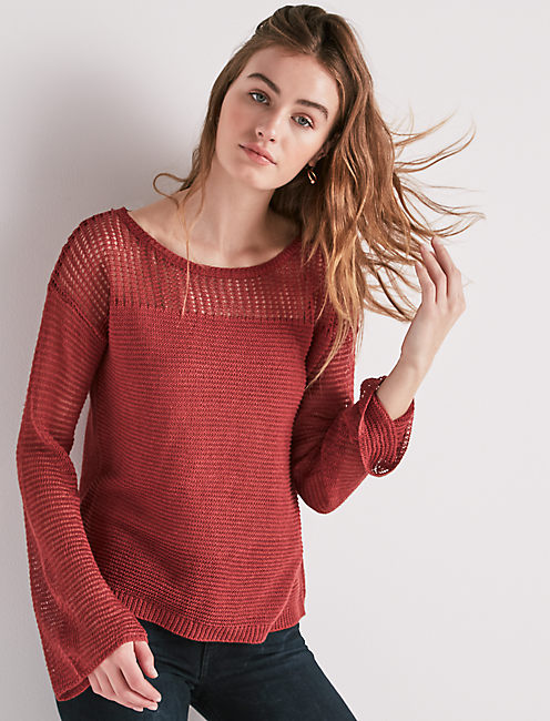 533936714d4213 Bell Sleeve Pullover Sweater