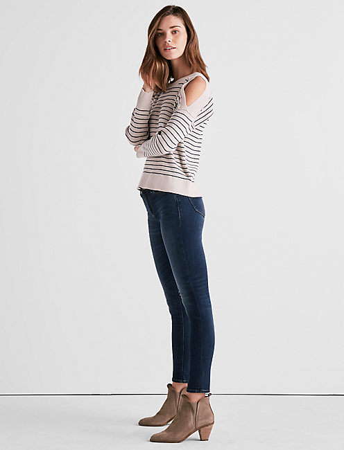 Lucky Stripe Cold Shoulder Sweater