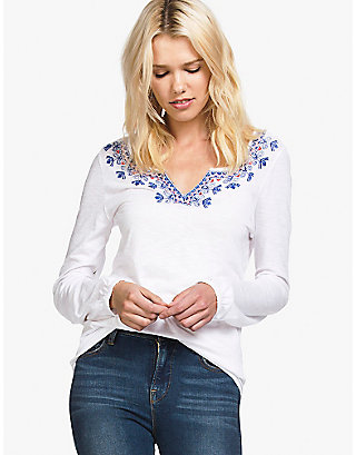 LUCKY EMBROIDERED FRONT PEASANT