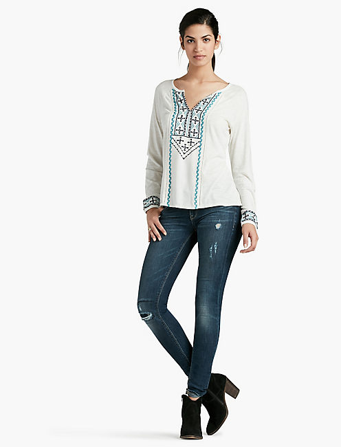 LUCKY EMBROIDERED WOVEN MIX TOP