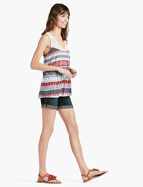 LUCKY CROCHET STRIPE PRINT TOP
