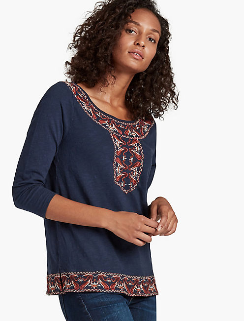 PAISLEY EMBROIDERY TOP, AMERICAN NAVY