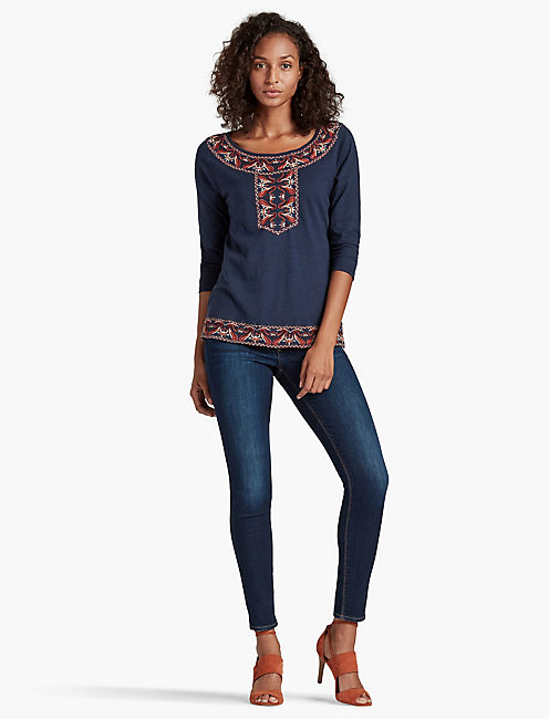 LUCKY PAISLEY EMBROIDERY TOP
