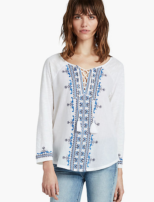 EMBROIDERED LACE UP TOP,