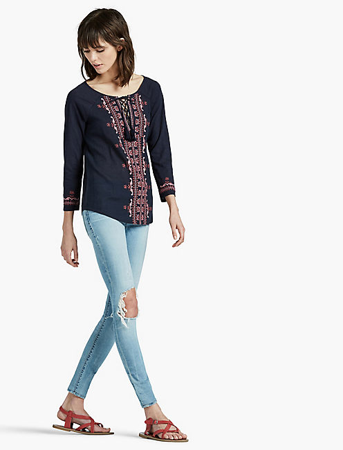 Lucky Embroidered Lace Up Top