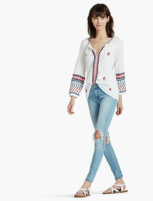 LUCKY MULTI EMBROIDERED PEASANT TOP