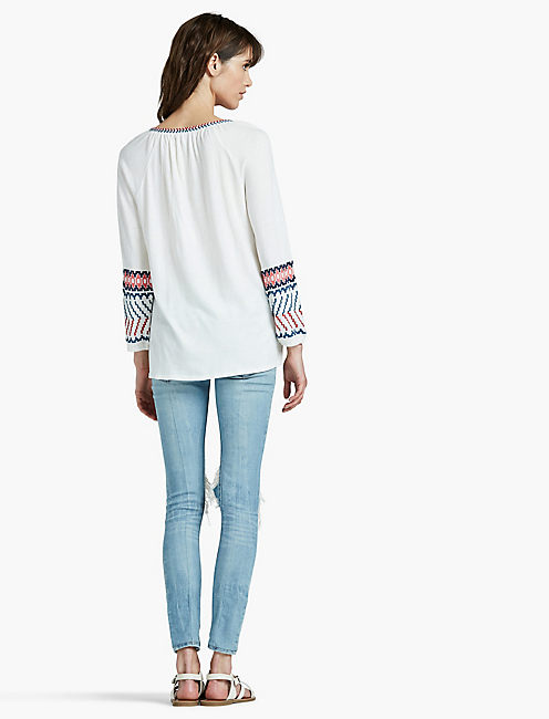 MULTI EMBROIDERED PEASANT TOP,