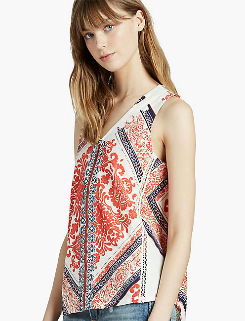 SCARF PRINT TANK, ORANGE MULTI
