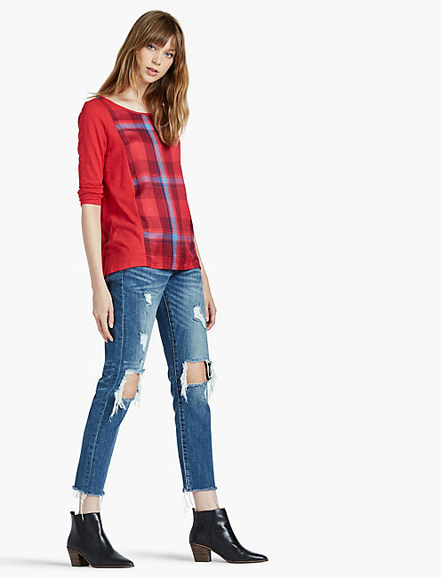 RED PLAID SPLIT BACK, RED MULTI