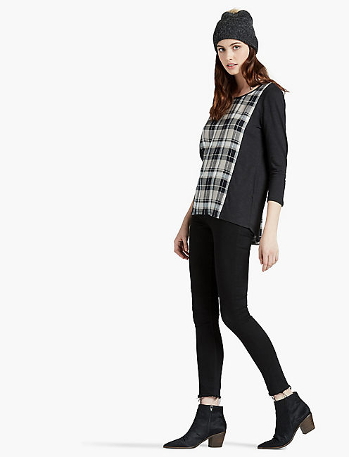 LUCKY BLK PLAID SPLIT BACK