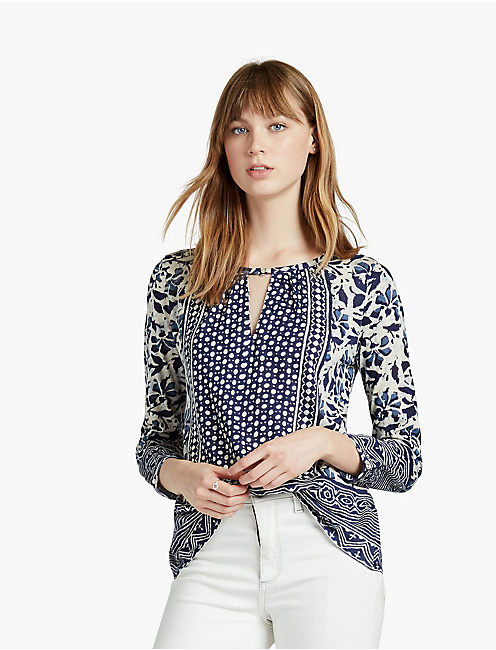 PLACED FLORAL KEYHOLE TOP, BLUE MULTI