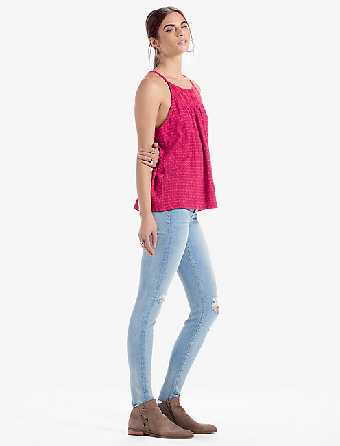 Lucky Halter Ditsy Embroidered Tank