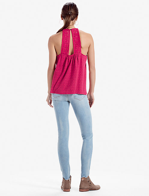 HALTER DITSY EMBROIDERED TANK,