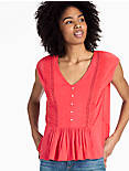 WOVEN MIX KNIT TOP, CORAL