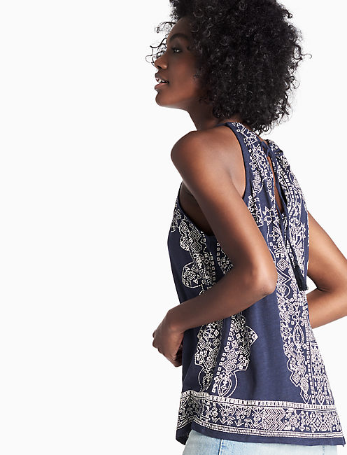 SCARF PRINT HALTER TOP,