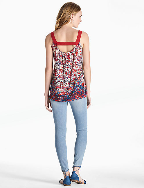 CROCHET LACE TANK, RED MULTI