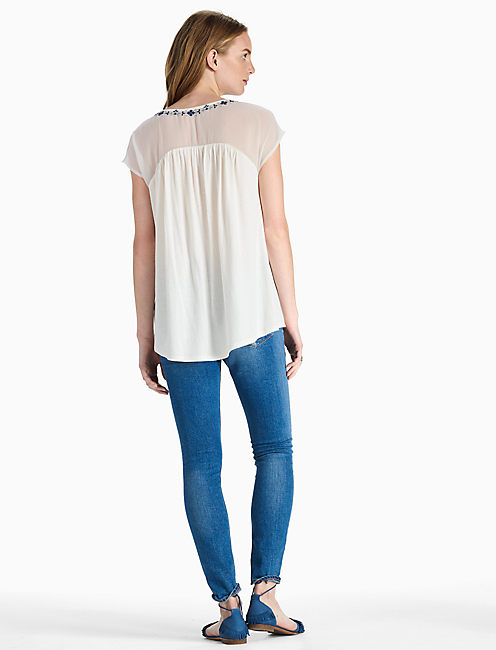 SHEER YOKE EMBROIDERED TOP,