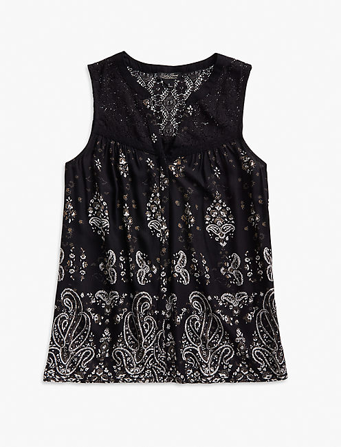 PRINTED LACE YOKE TOP,
