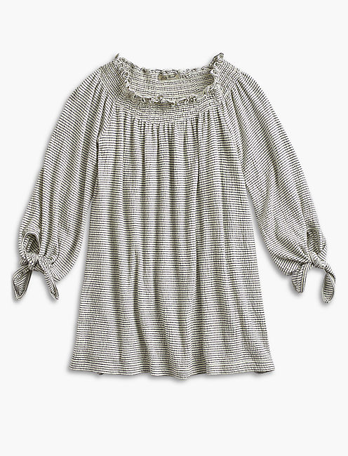 Stripe Smock Off Shoulder Top,