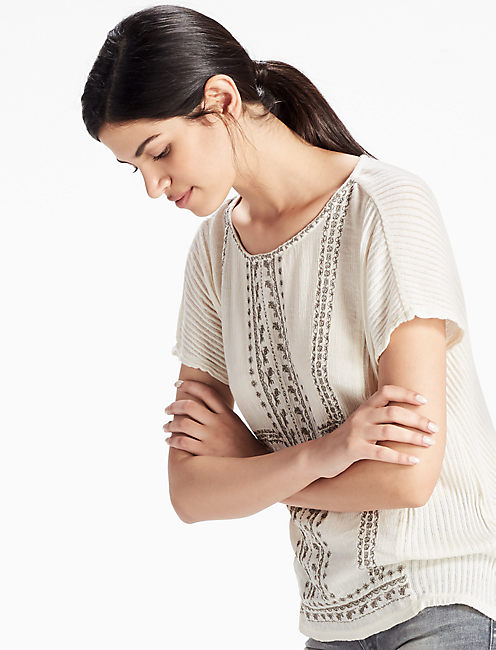 EMBROIDERED WOVEN MIX TEE, EGGSHELL