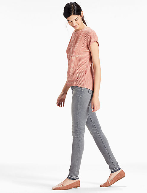 EMBROIDERED WOVEN MIX TEE, OLD ROSE