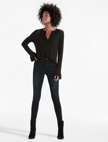 Lucky Lace Mix  Mock Neck Top