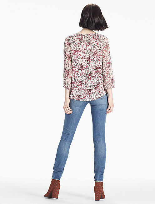 FLORAL PRINTED TOP, CREAM MULTI