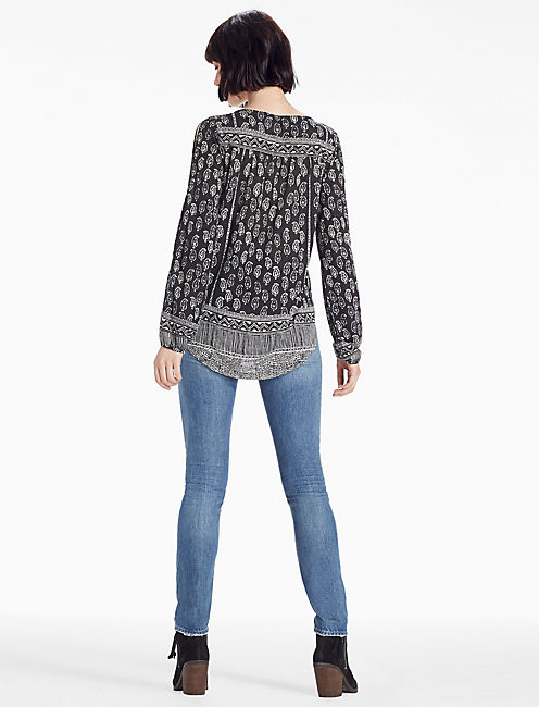BORDER PRINT LACE PEASANT,